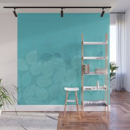 LEAVES ENSEMBLE TURQUOISE Wall Mural