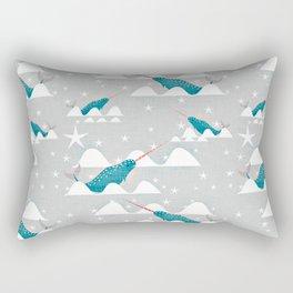 Sea unicorn - Narwhal grey Rectangular Pillow