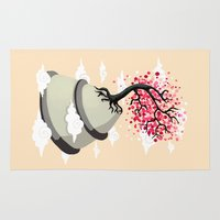 cherry blossom Area & Throw Rugs featuring Cherry Blossom by Freeminds
