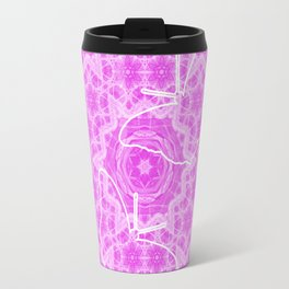 butterfly shapes on pink mandala Travel Mug