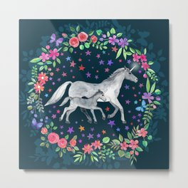 Mama and Baby Unicorn Metal Print