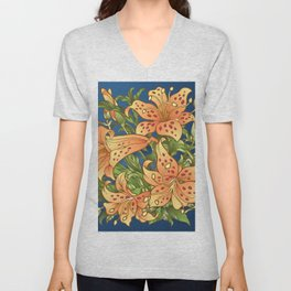 Tiger Lily Flowers Unisex V-Neck