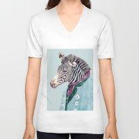 zebra V-neck T-shirts featuring Zebra by Animal Crew