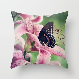 Butterfly & Lily Pink Photograph I Throw Pillow