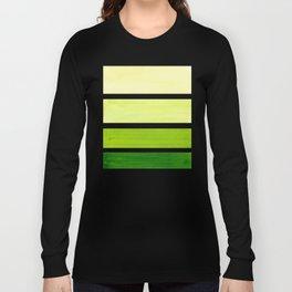 Sap Green Minimalist Mid Century Staggered Stripes Rothko Color Block Geometric Art Long Sleeve T-shirt