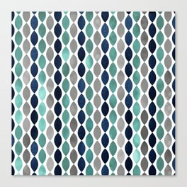 Oval Stripes Aqua and Navy Canvas Print
