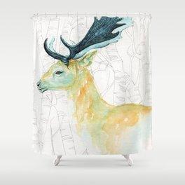 Scandinavian stag illustration Shower Curtain