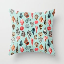 Seashells ocean nautical beach seaside children kids baby home dec shell illustration Andrea Lauren Throw Pillow