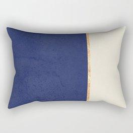 Navy Blue Gold Greige Nude Rectangular Pillow
