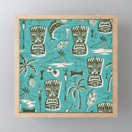 Tropical Tiki - Aqua Framed Mini Art Print