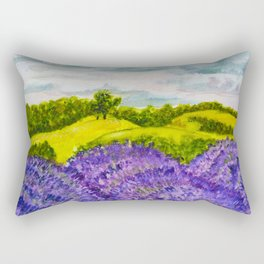 Lavender Fields Watercolor Rectangular Pillow