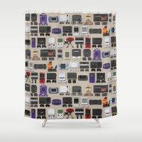 gamer Shower Curtains featuring Gamer by James Brunner