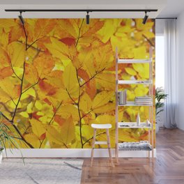 Indian Summer - Yellow Autumn Fall Leaves Wall Mural
