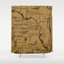 Vintage Illustrative Map of Florida (1912) - Tan Shower Curtain
