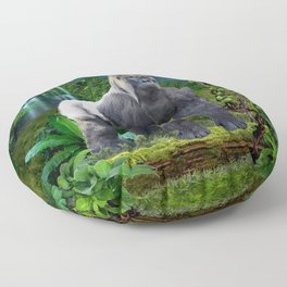 Silverback Gorilla Guardian of the Rainforest Floor Pillow