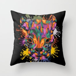 Llama Face Color Splashes Throw Pillow