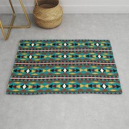 Navajo Teal Pattern Art Rug