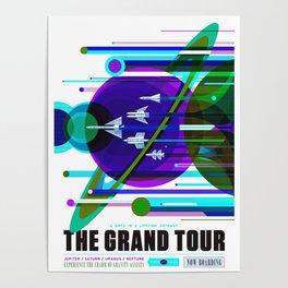 NASA Space Saturn Shuttle Retro Poster Futuristic Explorer Blue Poster