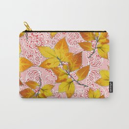 Pink Paisley Autumn Leaves Carry-All Pouch