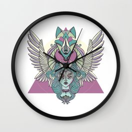 Valkyrie With Angel Wings And Wolf Wall Clock