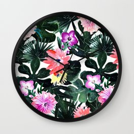 Lush Tropical Floral Wall Clock