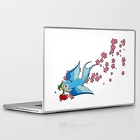 swallow Laptop & iPad Skins featuring Blue Swallow by Jelly Roger