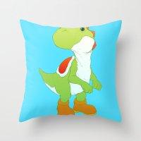 yoshi Throw Pillows featuring Yoshi by bloozen