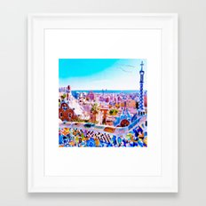 Park Guell Watercolor painting Framed Art Print