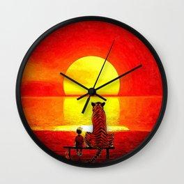 calvin and hobbes sunset Wall Clock