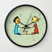 gemini Wall Clocks featuring Gemini by Giuseppe Lentini