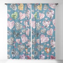 Heart Diamonds are Forever Love Blue Sheer Curtain