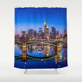 Historic Flößerbrücke Frankfurt Am Main City Skyline Hessen Germany Romantic Evening Red Ultra HD Shower Curtain