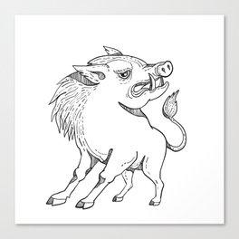 Razorback Doodle Art Black and White Canvas Print