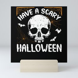 Halloween Horror Scary Skeleton With Bat Mini Art Print