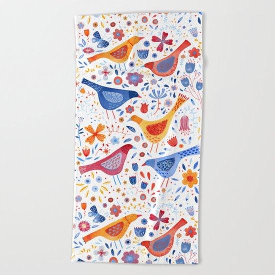 Birds in a Garden Beach Towel