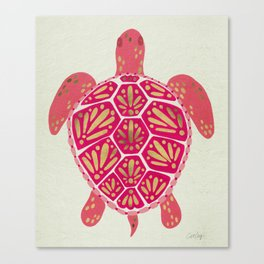 Sea Turtle in Pink & Gold Canvas Print