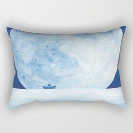 Full moon & paper boat Rectangular Pillow