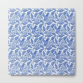 Bird and Berries Pattern Blue Metal Print