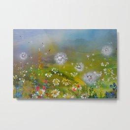 Daisies and Dandelion - Floral Landscape Metal Print