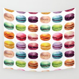 Macaroons in pop color. Delicious French Desserts. Wall Tapestry
