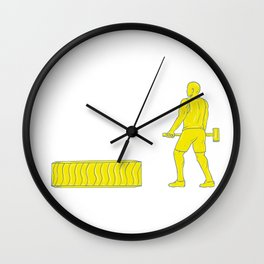 Fitness Athlete Hammer Workout Drawing Wall Clock