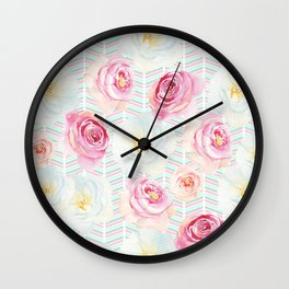 Hand painted pink yellow teal floral chevron pattern Wall Clock