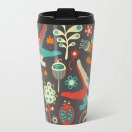 Vintage pattern with colorful crocodiles and flowers. Travel Mug