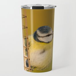Blue tit on feeder Travel Mug