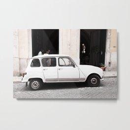 White Renault R4 - Lisbon, Portugal Metal Print