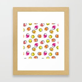Colorful  brush blots and circle Framed Art Print