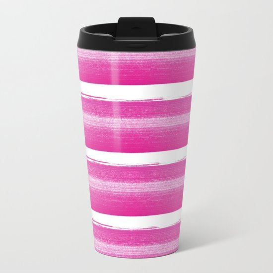 Simply handrawn pink stripes on white background Metal Travel Mug