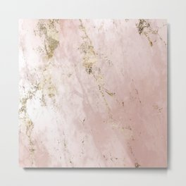 Marble Pattern in Pink and Gold Metal Print