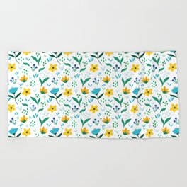 Summer flowers in yellow and blue in white background Beach Towel