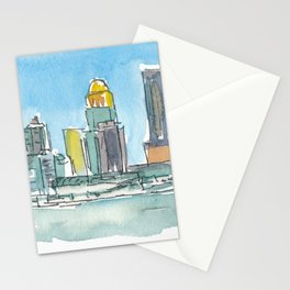 Louisville Kentucky USA Skyline Impressionistic View Stationery Cards